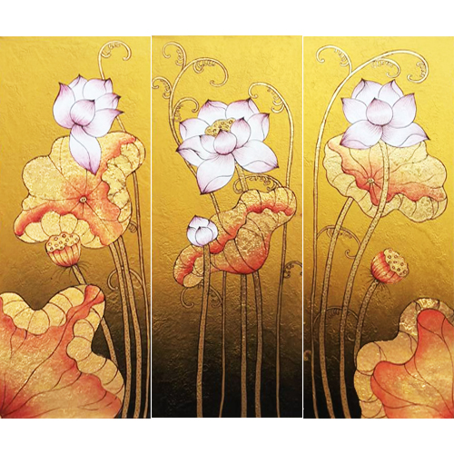 lotus asian painting lotus painting lotus flower painting lotus art 3 piece painting home decor asian art asian painting asian art for sale buy thai paintings online