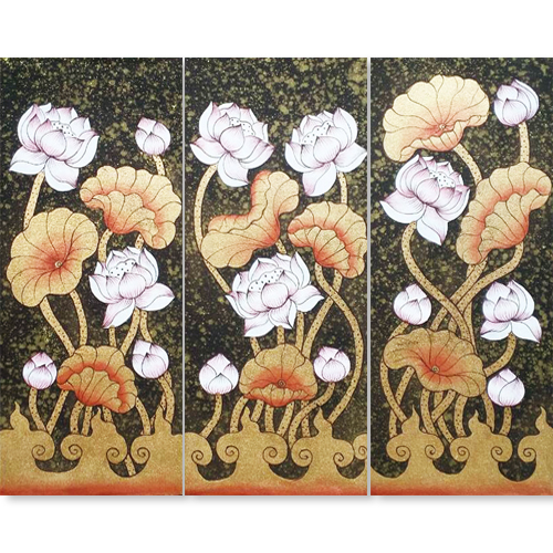 lotus asian wall art lotus painting lotus flower painting lotus art 3 piece painting home decor asian art asian painting best places to buy art online thailand art for sale