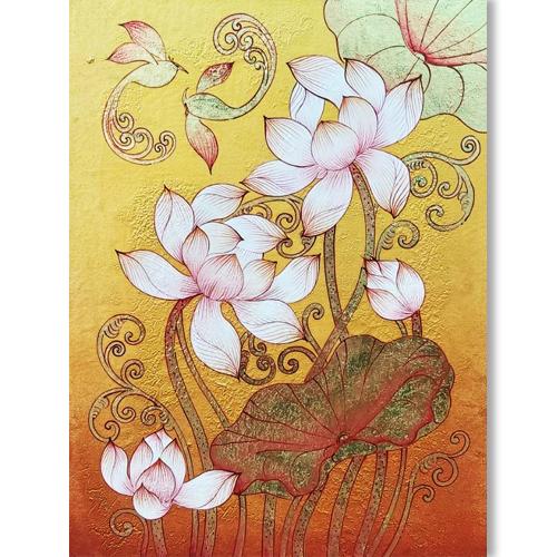 lotus flower canvas artwork lotus painting lotus art lotus flower art lotus canvas painting lotus oil painting thai art for sale