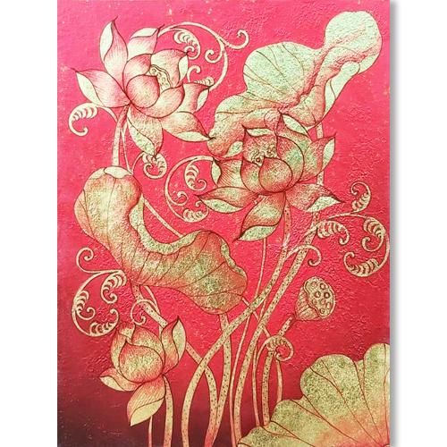 thai style lotus painting lotus art lotus flower art lotus canvas painting lotus oil painting best lotus paintings thai art