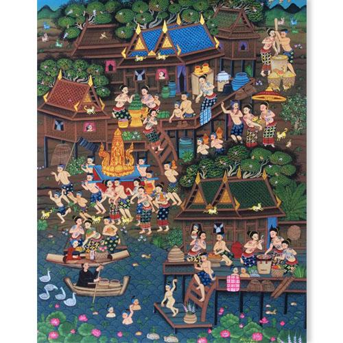 buddhist lent candle festival painting thai art thailand oil paintings on canvas thailand painting traditional thailand art thailand artwork buy thai art thai paintings