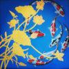 oriental flower art koi fish painting