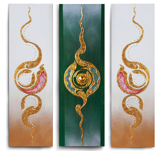 Multi Panel Painting Traditional Multi Panel Asian Style Painting