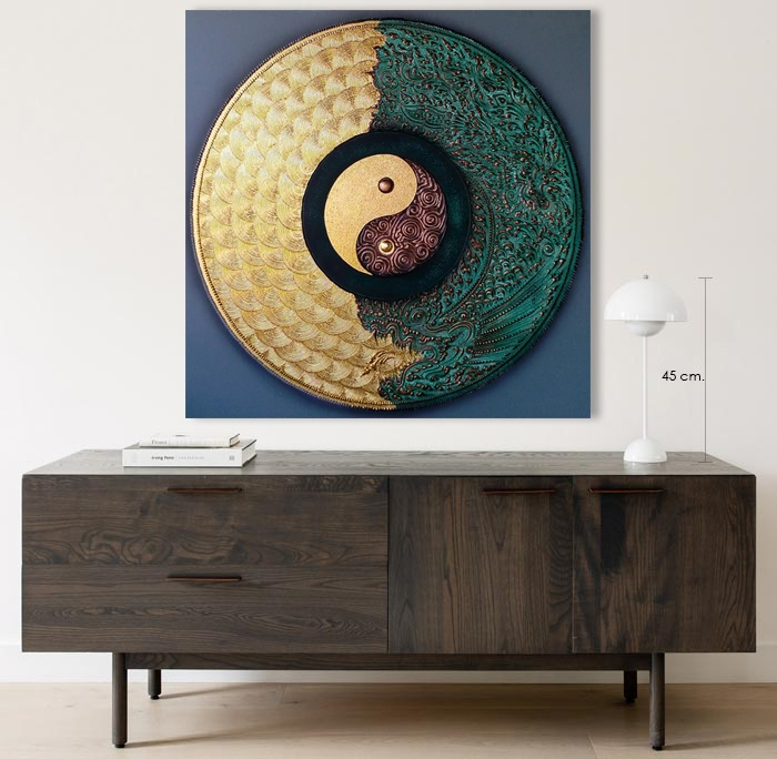 yin yang dragon mandala art for home