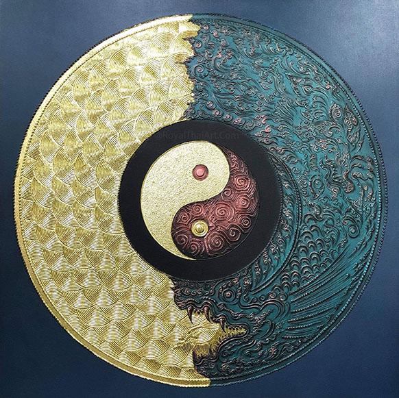 yin yang dragon mandala art mandala drawing mandala painting mandala wall art mandala artwork mandala art painting for sale mandala for home 3D mandala art large mandala wall art