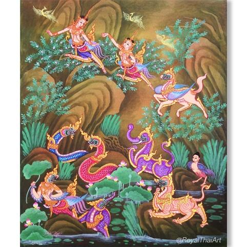 Himmapan Thai Art beautiful paintings of ladies best canvas art shop in thailand thai painting thai artwork thai wall art royal thai art thai art for sale