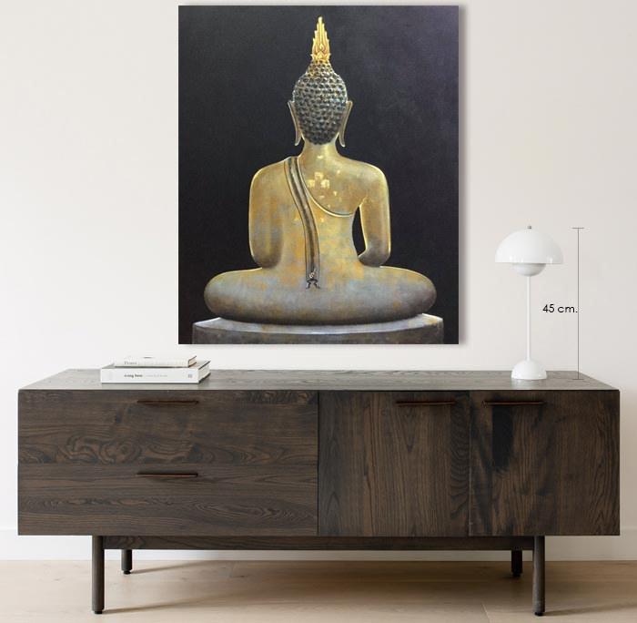gold buddha back painting art gallery