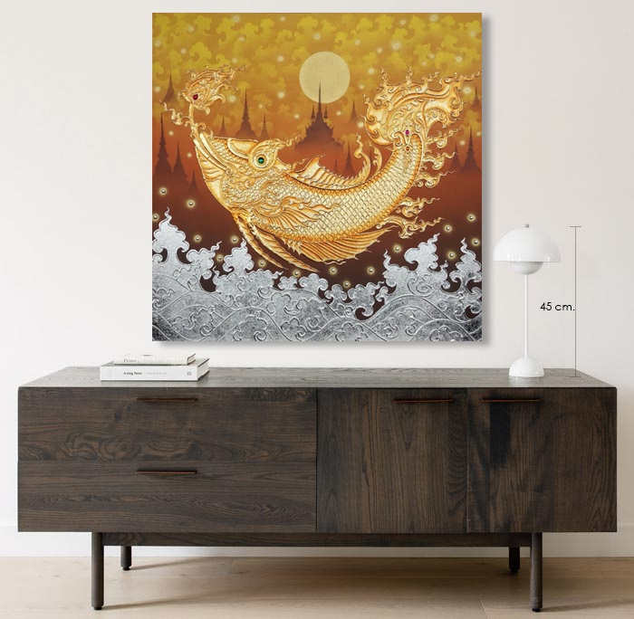 golden fish painting home wall