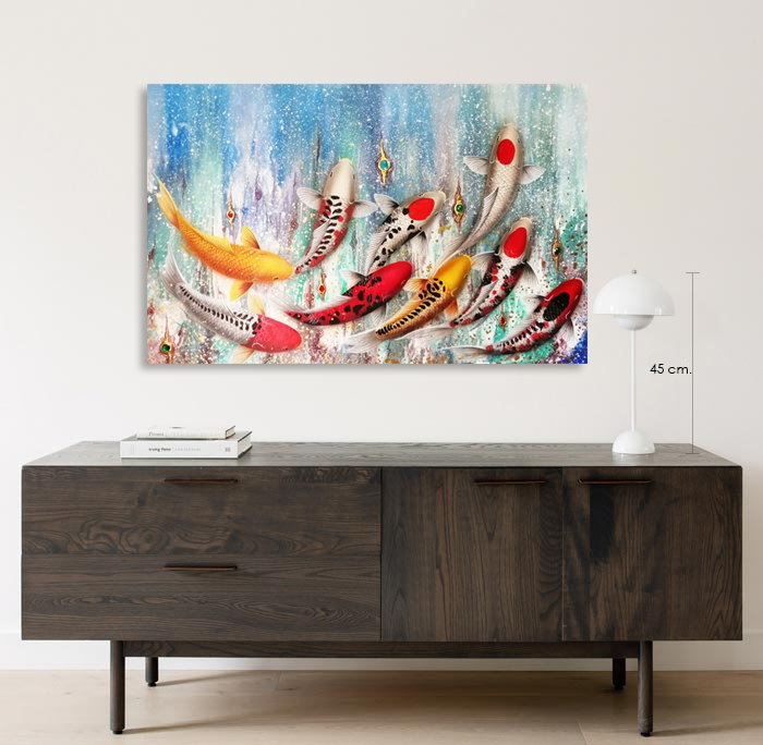 jewel koi fish painting wall art