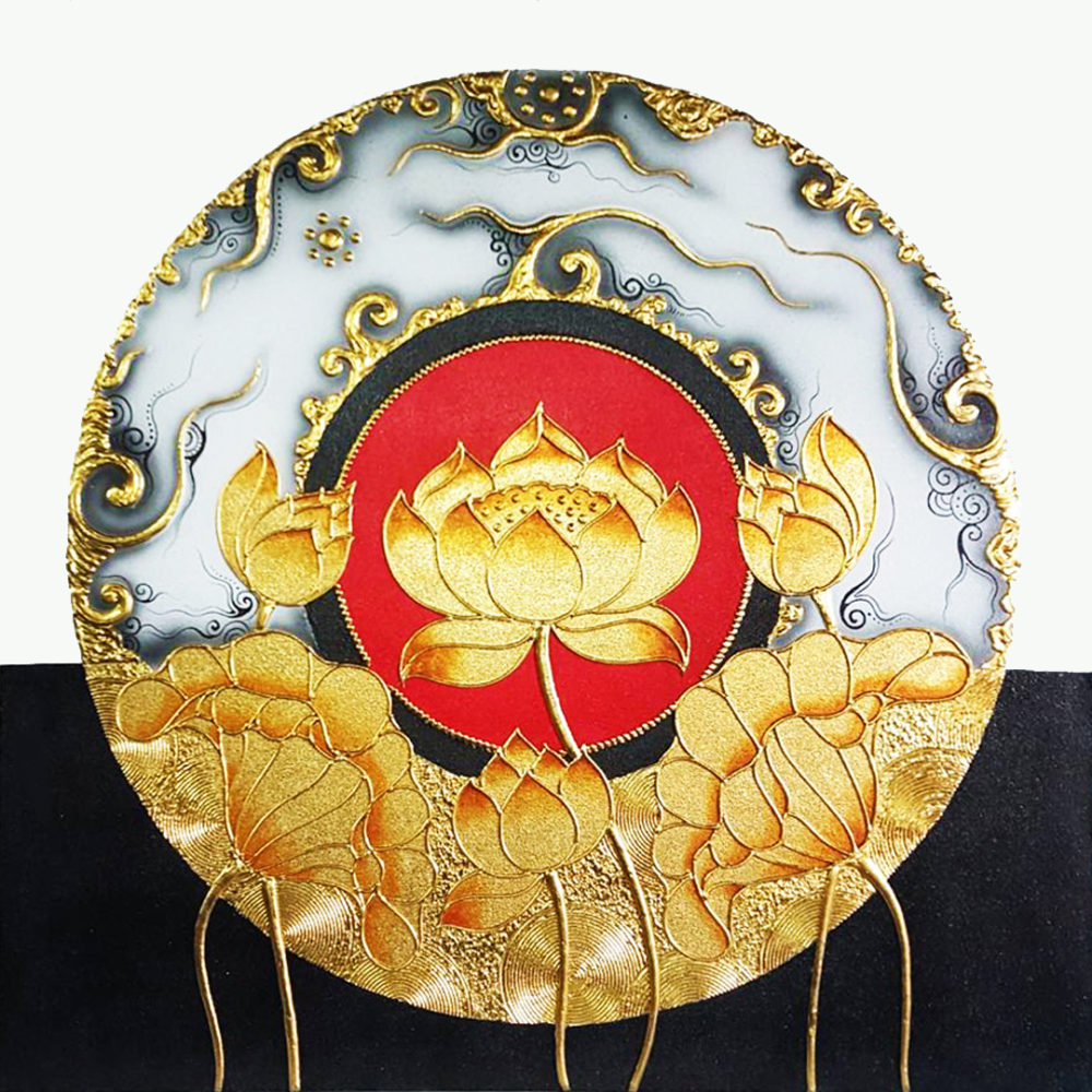 lotus abstract art lotus painting lotus paintings by famous artists lotus painting on canvas famous lotus painting thailand oil paintings on canvas famous thai paintings