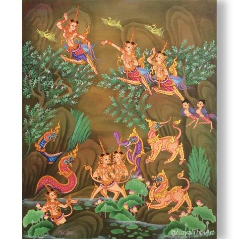thep kinnaree painting kinnari bird kinnari woman mythical himapan forest thai art traditional thai art buy thai art for sale online royal thai art original art asian