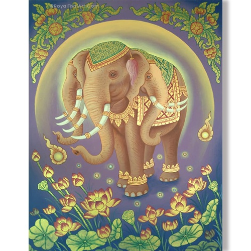 3 headed elephant painting thai elephant painting suda the painting elephant elephant painting with trunk famous elephant painting suda elephant painting for sale