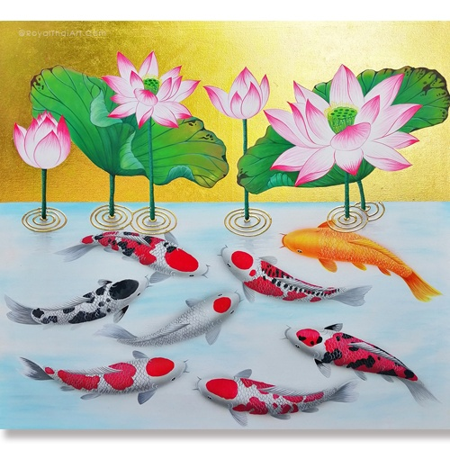 pink lotus koi fish painting acrylic koi pond painting famous koi fish painting Koi Fish Paintings on canvas Koi Fish Painting Aesthetic Koi fish painting Feng Shui