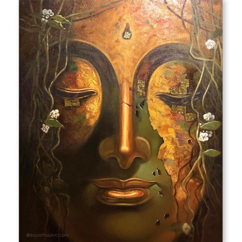 gautam buddha face art oil painting buddha painting buddha art buddha wall art buy art online buy paintings online asian paintings thai art