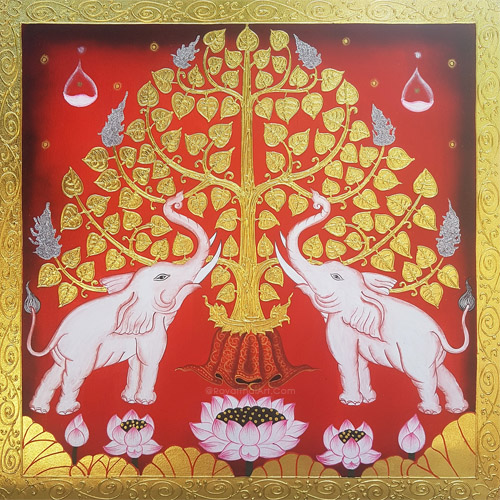 traditional thai bodhi tree painting