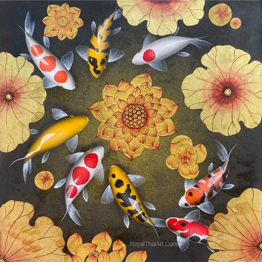 beautiful koi fish painting home decor