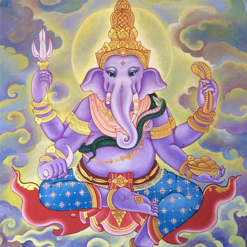ganesha acrylic painting on canvas