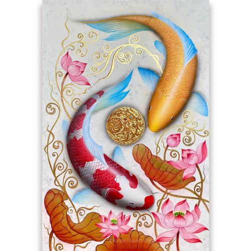 koi fish wall decor koi fish painting coy fish painting koi pond painting koi fish acrylic painting koi art for sale