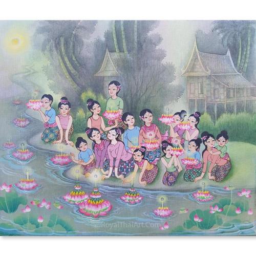 loy krathong festival painting loy krathong art loy krathong day happy loy krathong