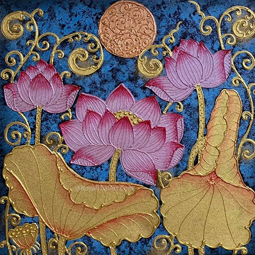 crylic lotus painting lotus painting thai lotus art lotus flower painting traditional asian lotus artwork art for sale