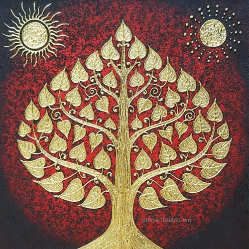 bodhi tree gold leaf artwork bodhi tree painting bodhi tree wall art oriental decor thai art decor