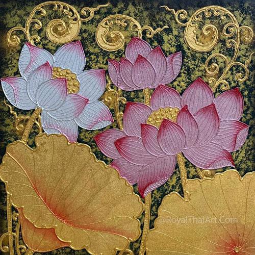 lotus canvas art lotus painting lotus flower painting lotus acylic painting chinese lotus painting buddha lotus painting