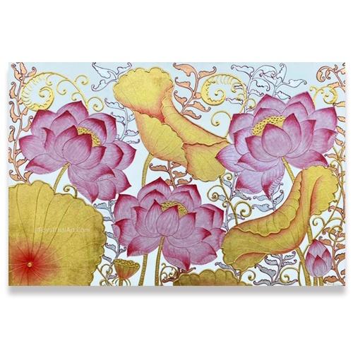 lotus gold leaf painting thai lotus art traditional lotus flower painting lotus floral artwork asian art original art for sale