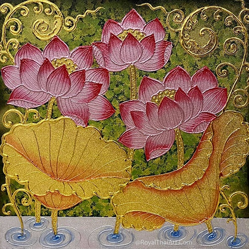 otus wall art painting lotus painting thai lotus art lotus flower painting traditional asian lotus artwork
