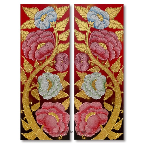 peony flower painting thai floral design art painting famous peony painting on canvas