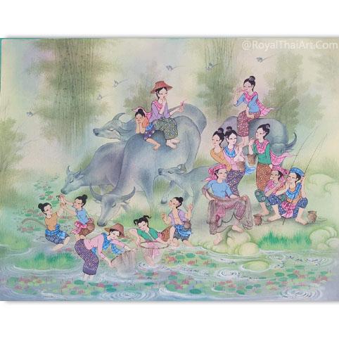 thai lifestyle painting thai folk art thailand art and culture thailand folk arts traditional thai art painting royal thai art