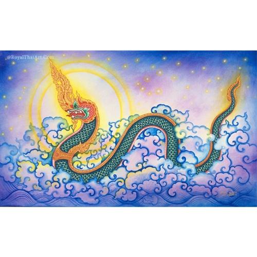 thai naga painting phaya naga asian folk art thai art thai painting buddhism art traditoonal thai art for sale ancient naga temple naga art