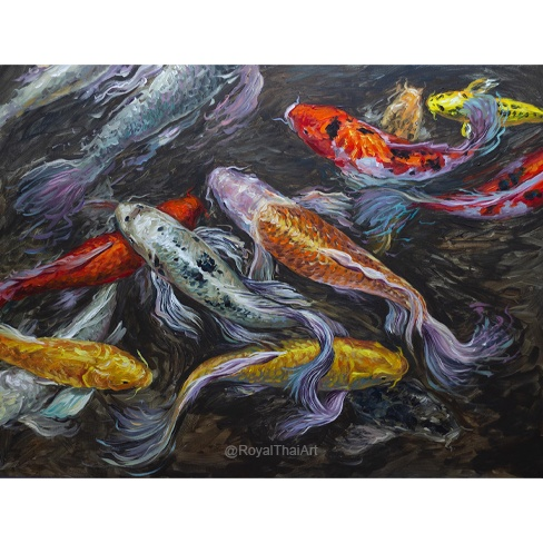 fantasy abstract koi painting for sale coy fish painting koi pond painting koi fish acrylic painting koi fish art koi painting koi art