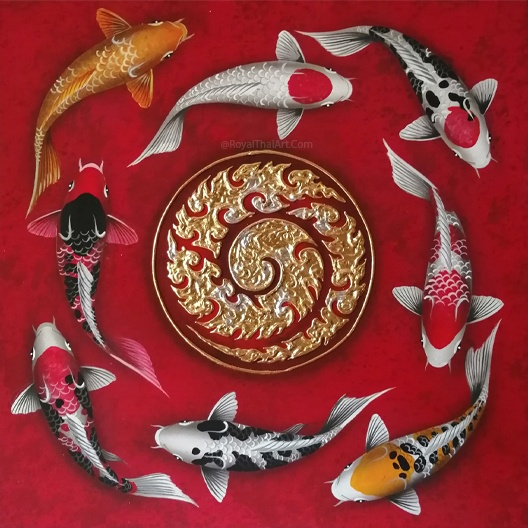 coy fish art koi fish painting feng shui large koi fish painting for sale traditional japanese koi fish art famous koi fish artist royal thai art