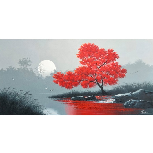 red tree painting red tree wall art red tree bakground canvas landscape painting beautiful landscape painting nature wall decor nature wall art scenery painting