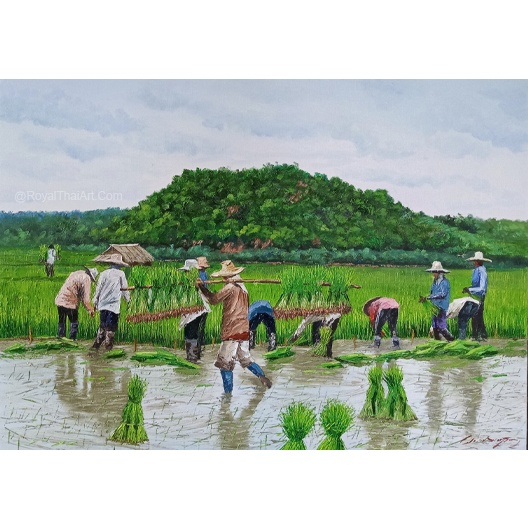 rice paddy painting rice field painting Paddy field painting feng shuirice harvest landscape painting oil painting original art for sale online