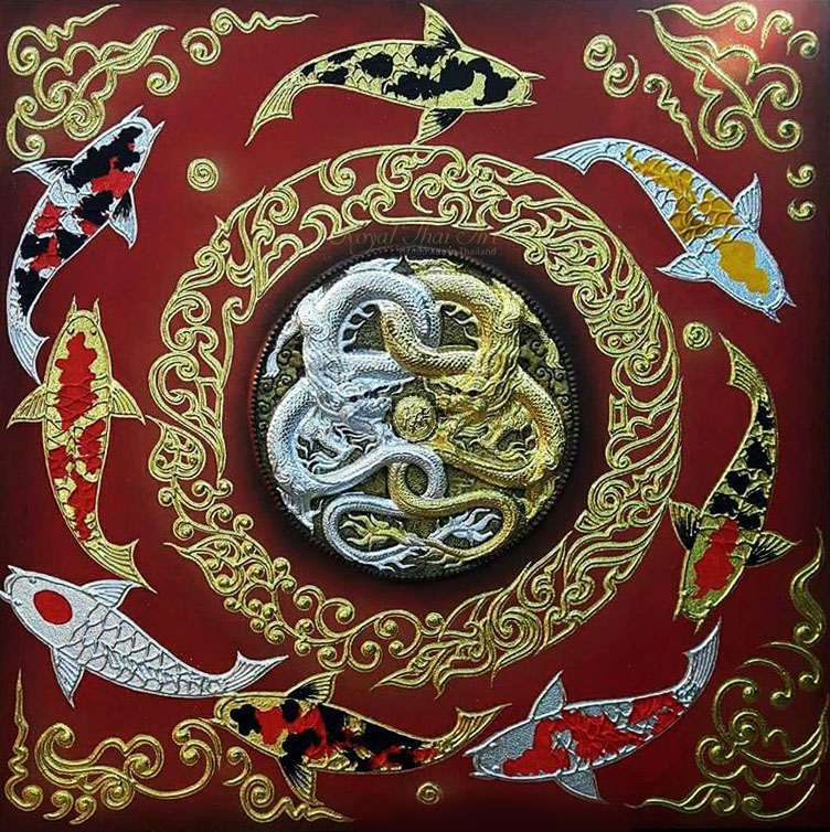 Finest luxury koi fish art asian thai painting gold leaf for Dragon koi for sale