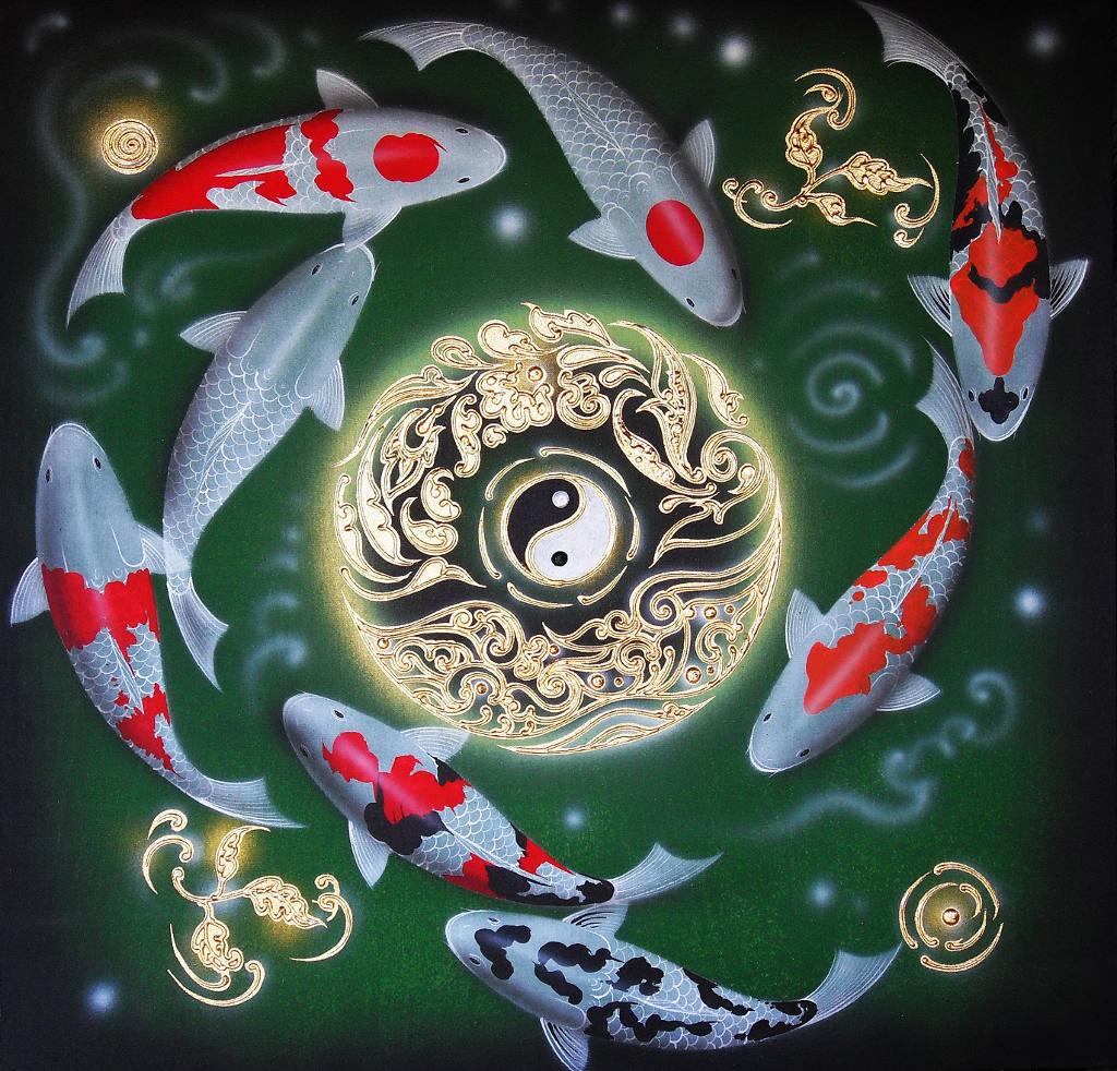 Japanese Koi Carp Painting Classic Yin Yang Symbol L Royal Thai Art