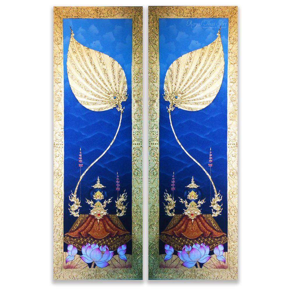 traditional Thai art lotus painting