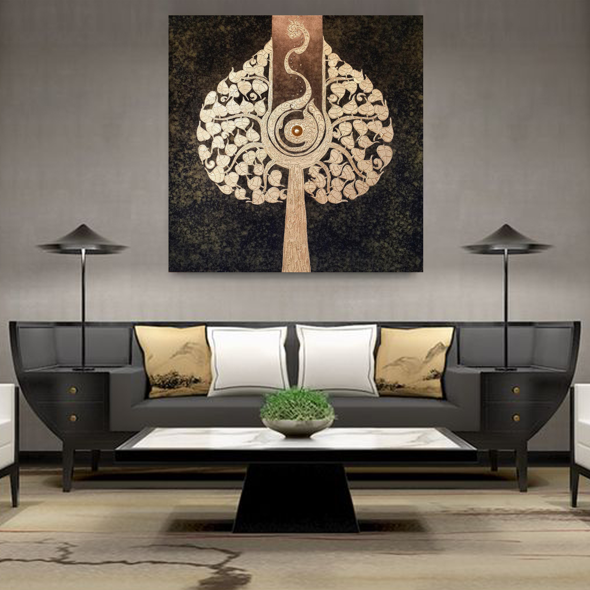 Thai artwork handmade gold leaf bodhi tree painting for Thailand home decor